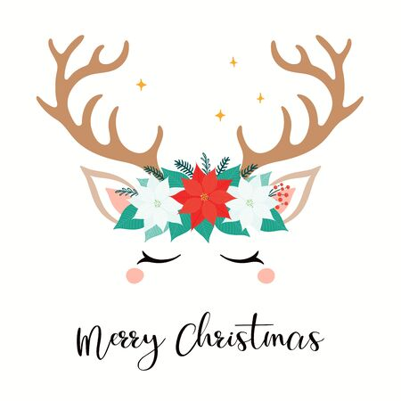 Hand drawn card with cute reindeer face in a wreath of poinsettias, firs, text Merry Christmas. Vector illustration Isolated objects on white. Flat style design. Concept for holiday print, gift tag. Illusztráció
