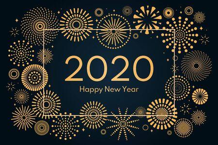 Illustrazione vettoriale con cornice dorata di fuochi d'artificio su sfondo blu scuro, testo 2020 Felice Anno Nuovo. Design in stile piatto. Concetto per feste, biglietti di auguri, poster, striscioni, volantini.