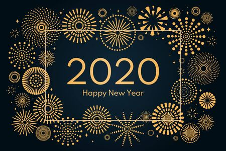 Vector illustration with golden fireworks frame on a dark blue background, text 2020 Happy New Year. Flat style design. Concept for holiday celebration, greeting card, poster, banner, flyer.