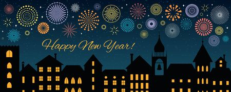Vector illustration with colorful fireworks in the night sky over the black city, text Happy New Year. Flat style design. Concept for holiday celebration, background, card, poster, banner.