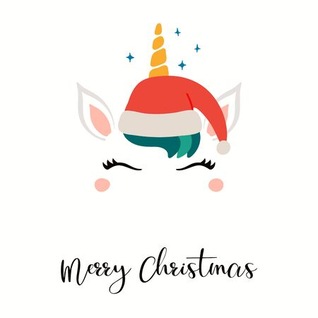 Hand drawn card with cute unicorn face in Santa Claus hat, stars, text Merry Christmas. Vector illustration Isolated objects on white. Flat style design. Concept for holiday print, invite, gift tag. Archivio Fotografico - 134466889