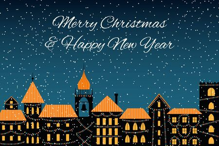 Vector illustration of the winter city skyline, with lights, falling snow, text Merry Christmas and Happy New Year. Flat style design. Concept for holiday celebration, background, card, poster, banner