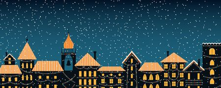 Vector illustration of the winter city skyline, with colorful lights, falling snow, place for text. Flat style design. Concept for holiday, Christmas, New Year background, card, poster, banner. Illustration