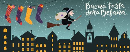 Hand drawn vector illustration with witch Befana flying on broomstick over city, stockings, Italian text Buona Festa della Befana, Happy Epiphany. Flat style design. Concept for holiday card, banner. Ilustracja