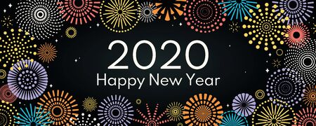 Vector illustration with bright colorful fireworks on a dark, black background, text 2020 Happy New Year. Flat style design. Concept for holiday celebration, greeting card, poster, banner, flyer.