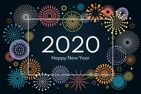 Vector illustration with colorful fireworks frame on a dark blue background, text 2020 Happy New Year. Flat style design. Concept for holiday celebration, greeting card, poster, banner, flyer. Stock Illustratie