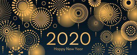 Ilustración de vector con fuegos artificiales dorados brillantes sobre un fondo azul oscuro, texto 2020 Feliz año nuevo. Diseño de estilo plano. Concepto de celebración navideña, tarjetas de felicitación, carteles, pancartas, folletos.