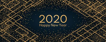 Vector illustration with golden glitter, geometric elements on a dark blue background, text 2020 Happy New Year. Flat style design. Concept for holiday celebration, greeting card, poster, banner. Stock Illustratie