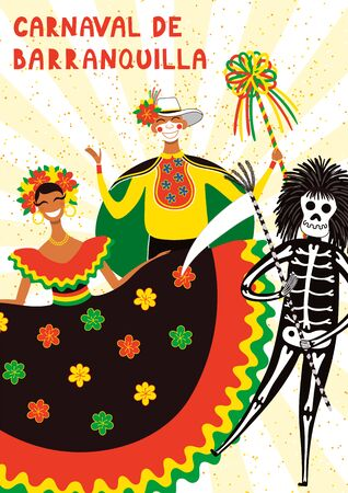 Hand drawn vector illustration with people in traditional costumes for Garabato dance, Spanish text Carnaval de Barranquilla. Flat style design. Concept for Colombian carnival poster, flyer, banner. Illusztráció