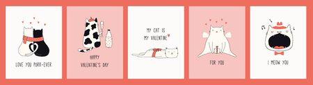 Sammlung von handgezeichneten Valentinstag-Grußkarten mit süßen Katzen in Hüten, Herzen, Geschenken, Zitaten. Vektor-Illustration. Strichzeichnung. Designkonzept für Urlaubsdruck, Einladung, Banner, Geschenkanhänger.