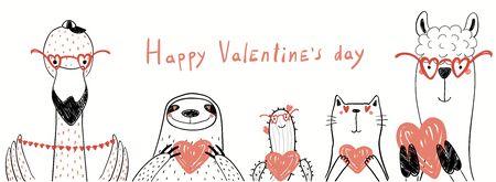 Ilustración de vector dibujado a mano de lindo flamenco, perezoso, cactus, gato, llama sosteniendo corazones, con texto Feliz día de San Valentín. Objetos aislados en blanco. Dibujo lineal. Concepto de diseño para tarjeta de niños, banner