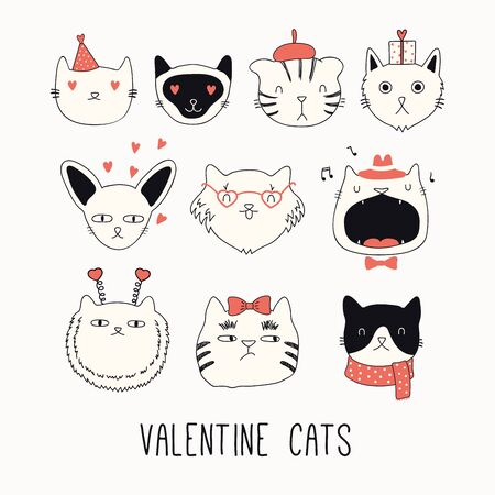 Collection of cute funny doodles of different cats faces, with hearts. Isolated objects on white. Hand drawn vector illustration. Line drawing. Design concept for Valentines day card invite, print.