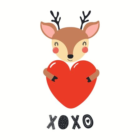 Hand drawn Valentines day card with cute deer with heart, quote XOXO. Vector illustration. Isolated on white background. Scandinavian style flat design. Concept for children print, invite.