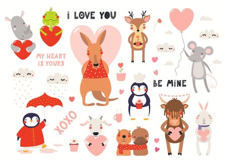 Big Valentines day set with cute animals, hearts, quotes. Isolated objects on white background. Hand drawn vector illustration. Scandinavian style flat design. Concept for children holiday print. 向量圖像