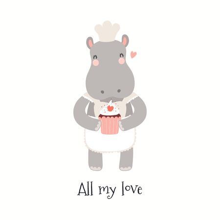 Hand drawn Valentines day card with cute hippo with cake, quote All my love. Vector illustration. Isolated on white background. Scandinavian style flat design. Concept for children print, invite. Foto de archivo - 140098628