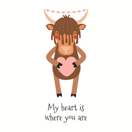 Hand drawn Valentines day card with cute yak, with quote My heart is where you are. Vector illustration. Isolated on white background. Scandinavian style flat design. Concept for kids print, invite. 向量圖像
