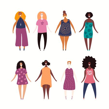 Set of diverse beautiful girls in casual clothes. Hand drawn vector illustration. Isolated people on white background. Flat style design. Female cartoon character. Modern woman concept, element.