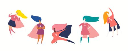 Set of diverse girl superheroes. Hand drawn vector illustration. Isolated people on white. Flat style design. Concept, element for feminism, womens day card, poster, banner. Female cartoon characters.