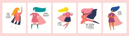Set of womens day card, banner designs with beautiful women superheroes and quotes. Hand drawn vector illustration. Flat style. Concept, element for feminism, girl power. Female cartoon characters. Ilustrace
