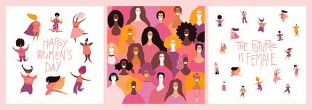 Set of womens day card, banner designs with beautiful diverse women and quotes. Hand drawn vector illustration. Flat style. Concept, element for feminism, girl power. Female cartoon characters.