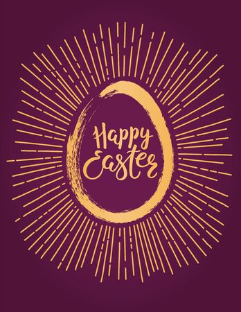 Card, invite, banner design with sun rays, egg silhouette, text Happy Easter. Gold on purple background. Hand drawn vector illustration. Concept for holiday celebration decor element. Flat style.
