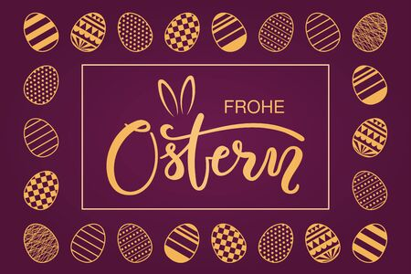 Card, invite, banner design with eggs, bunny ears, German text Frohe Ostern, Happy Easter. Gold on purple background. Vector illustration. Concept for holiday celebration decor element. Flat style.