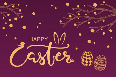 Card, invite, banner design with spring flowers, eggs, text Happy Easter with bunny ears. Gold on purple background. Vector illustration. Concept for holiday celebration decor element. Flat style.
