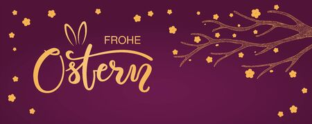 Card, invite, banner design with flowers, German text Frohe Ostern, Happy Easter, bunny ears. Gold on purple background. Vector illustration. Concept for holiday celebration decor element. Flat style.