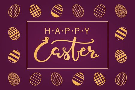 Card, invite, banner design with eggs with patterns, text Happy Easter. Gold on purple background. Vector illustration. Concept for holiday celebration decor element. Flat style.