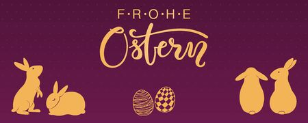 Card, invite, banner design with cute rabbits, eggs, German text Frohe Ostern, Happy Easter. Gold on purple background. Vector illustration. Concept for holiday celebration decor element. Flat style.