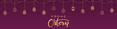 Card, banner design with garland, bunting of eggs, German text Frohe Ostern, Happy Easter. Gold on purple background. Vector illustration. Concept for holiday celebration decor element. Flat style.