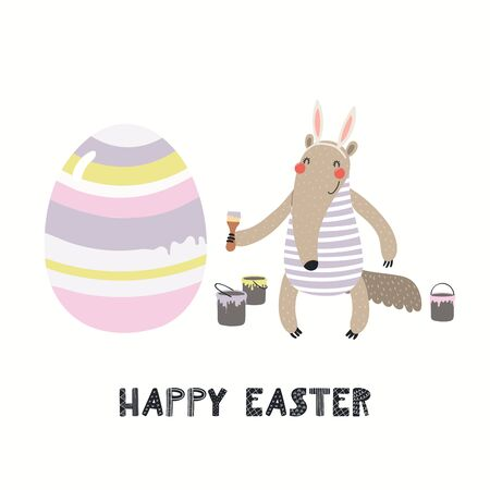 Hand drawn vector illustration with cute funny anteater painting eggs, text Happy Easter. Isolated on white background. Scandinavian style flat design. Concept for children print, card, invite.