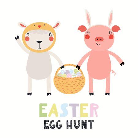 Hand drawn vector illustration with cute funny sheep, pig, basket with eggs, text Easter Egg Hunt. Isolated on white background. Scandinavian style flat design. Concept for kids print, card, invite.