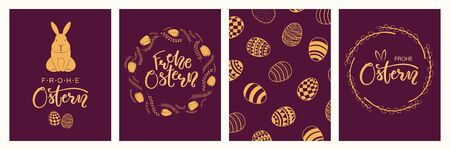 Collection of greeting cards with rabbits, eggs, flowers, German text Frohe Ostern, Happy Easter. Gold on purple background. Flat style design. Concept for holiday print, invite, gift tag, banner.