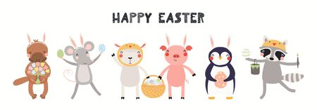 Hand drawn card, banner with cute animals, eggs, text Happy Easter. Vector illustration. Isolated on white background. Scandinavian style flat design. Concept for kids holiday print, invite, gift tag. Stock Illustratie