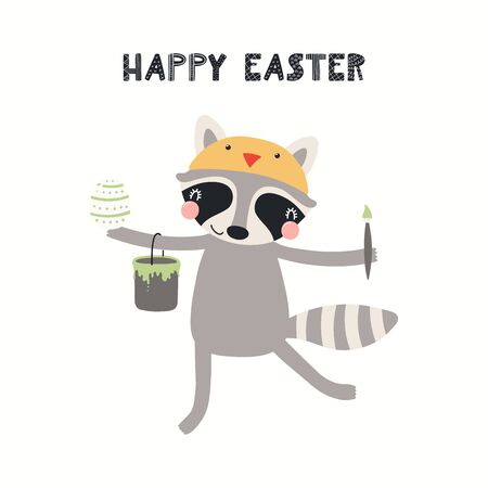 Hand drawn vector illustration with cute funny raccoon painting eggs, text Happy Easter. Isolated on white background. Scandinavian style flat design. Concept for children print, card, invite.