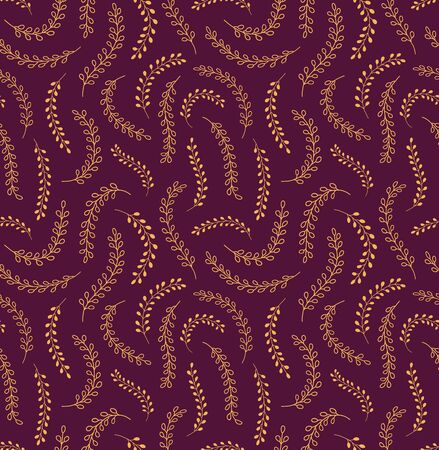Hand drawn seamless vector pattern with grasses, leaves, gold on purple background. Design concept for floral Easter print, packaging, wrapping paper, card, banner, invite. Line art illustration.