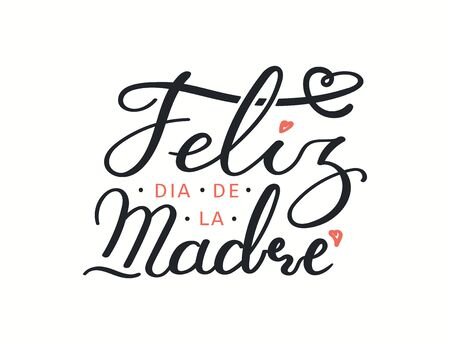 Hand drawn vector illustration with Spanish lettering quote Feliz Dia de la Madre, Happy Mothers Day, pink hearts. Isolated on white. Design concept for holiday print, card, banner element.