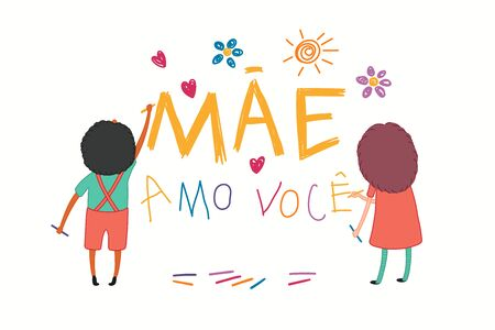 Mothers Day card with cute cartoon kids, girl and boy, drawing with crayons, Portuguese text Mae amo voce, I love you Mom. Isolated on white. Hand drawn vector illustration. Holiday design concept. Ilustração