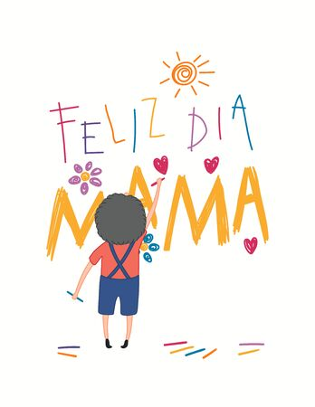 Card, banner with cute cartoon boy drawing with crayons, Spanish text Feliz Dia Mama, Happy Mothers Day, hearts. Isolated on white. Hand drawn vector illustration. Design concept for holiday print.