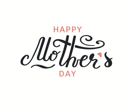 Hand drawn vector illustration with lettering quote Happy Mothers Day, heart, black and pink, isolated on white. Isolated on white. Design concept for holiday print, card, banner element. 向量圖像