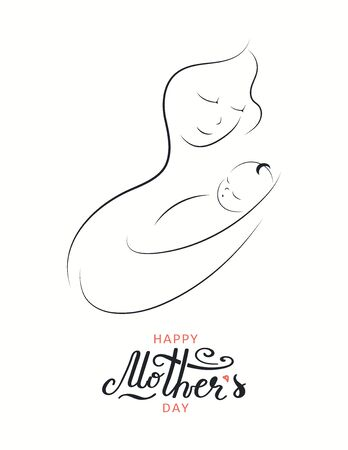 Card, banner design with beautiful mother and baby drawing, hand lettering quote Happy Mothers Day. Isolated on white. Vector illustration. Design concept for holiday print, motherhood, childcare. 向量圖像