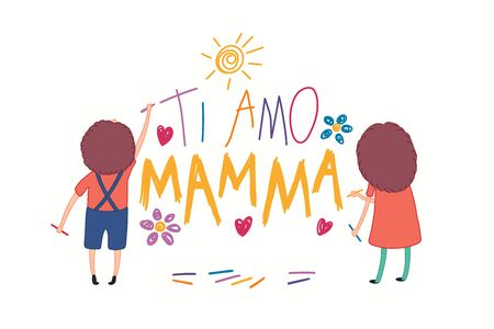 Mothers Day card with cute cartoon kids, girl and boy, drawing with crayons, Italian text Ti amo Mamma, I love you Mom. Isolated on white. Hand drawn vector illustration. Design concept holiday print.