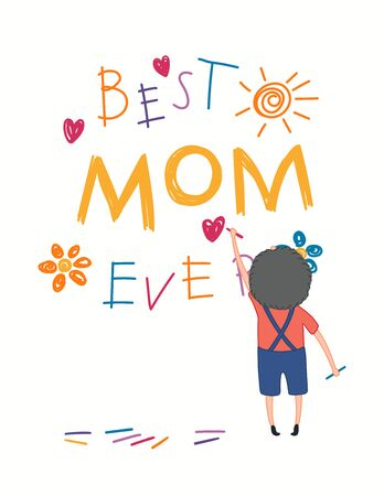Mothers Day card, banner with cute cartoon boy drawing with crayons, text Best Mom Ever, hearts, sun, flowers. Isolated on white. Hand drawn vector illustration. Design concept for holiday print.