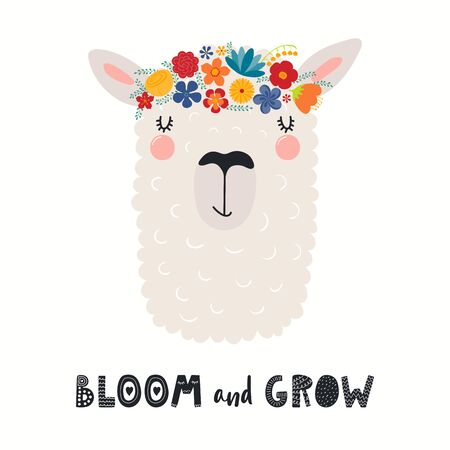 Hand drawn vector illustration of a cute llama face in a flower crown, with lettering quote Bloom and Grow. Isolated objects on white. Scandinavian style flat design. Concept for children print.