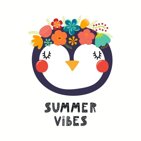 Hand drawn vector illustration of a cute penguin face in a flower crown, with lettering quote Summer Vibes. Isolated objects on white. Scandinavian style flat design. Concept for children print. 向量圖像