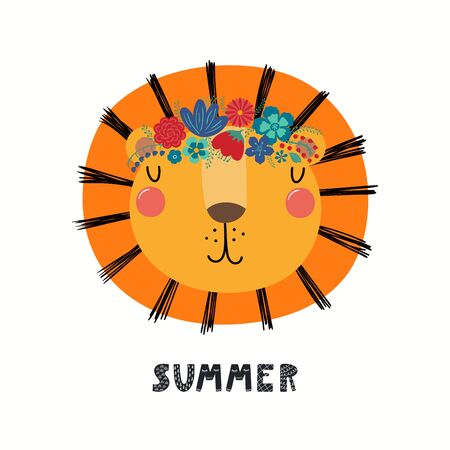 Hand drawn vector illustration of a cute lion face in a flower crown, with lettering quote Summer. Isolated objects on white. Scandinavian style flat design. Concept for children print.