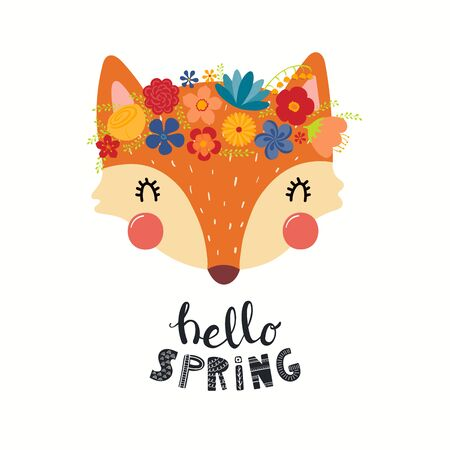 Hand drawn vector illustration of a cute fox face in a flower crown, with lettering quote Hello Spring. Isolated objects on white. Scandinavian style flat design. Concept for children print. 向量圖像