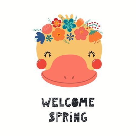 Hand drawn vector illustration of a cute duck face in a flower crown, with lettering quote Welcome Spring. Isolated objects on white. Scandinavian style flat design. Concept for children print. 向量圖像