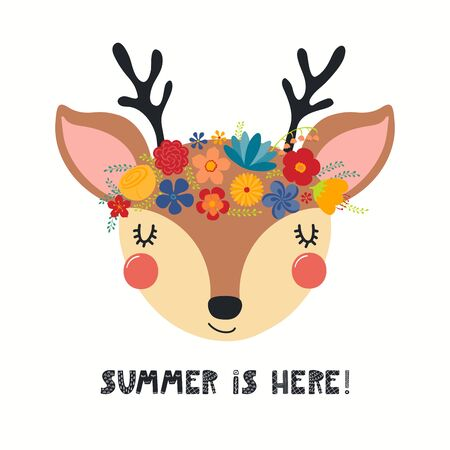 Hand drawn vector illustration of a cute deer face in a flower crown, with lettering quote Summer Is Here. Isolated objects on white. Scandinavian style flat design. Concept for children print. Vektoros illusztráció
